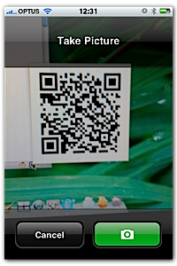 Taking a picture of a barcode with BeeTag