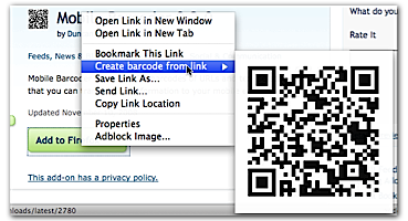 Generating a barcode from a link