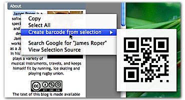 Generating a barcode from selected text